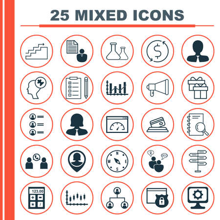 Set Of 25 Universal Editable Icons For Project Management, Education And SEO Topics. Includes Icons Such As Opportunity, Present, Tree Structure And More.