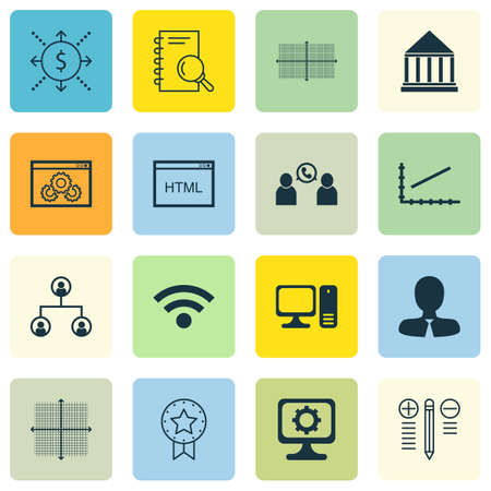 line up: Set Of 16 Universal Editable Icons For Statistics, Marketing And Human Resources Topics. Includes Icons Such As Website Performance, Decision Making, Line Up And More.
