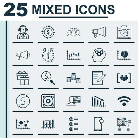 appointment: Set Of 25 Universal Editable Icons For Project Management, Travel And Human Resources Topics. Includes Icons Such As PPC, Wireless, Announcement And More. Illustration