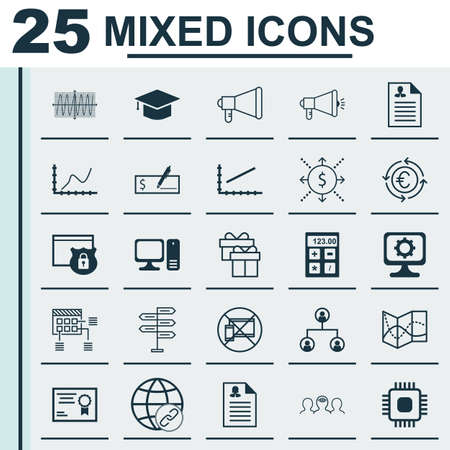 line up: Set Of 25 Universal Editable Icons For Travel, Marketing And Business Management Topics. Includes Icons Such As Line Up, PC, Female Application And More. Illustration