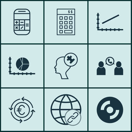 Set Of 9 Universal Editable Icons For Human Resources, Travel And Statistics Topics. Includes Icons Such As Line Up, Human Mind, Calculation And More. Illustration