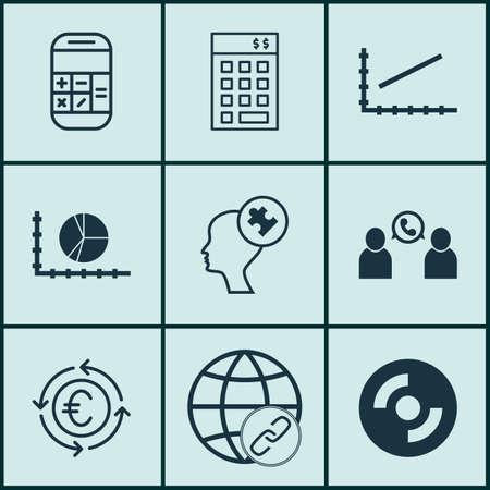 Set Of 9 Universal éditables Icônes pour les ressources humaines, Voyage et Statistiques Sujets. Comprend des icônes telles que Line Up, esprit humain, Calcul Et Plus.