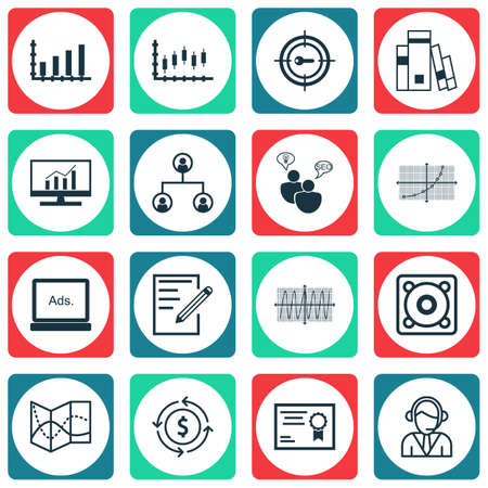 cosinus: Set Of 16 Universal Editable Icons For Statistics, Computer Hardware And Airport Topics. Includes Icons Such As Operator, Cosinus Diagram, Stock Market And More.
