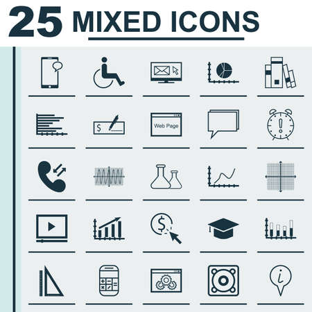 infirm: Set Of 25 Universal Editable Icons For Project Management, Management And Statistics Topics. Includes Icons Such As Graduation, Calculation, Messaging And More.