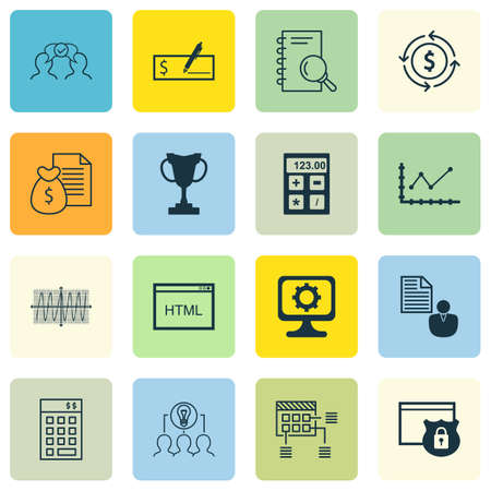 cosinus: Set Of 16 Universal Editable Icons For Human Resources, Management And Business Management Topics. Includes Icons Such As Analysis, Cosinus Diagram, PC And More.