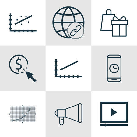 bulding: Set Of 9 Universal Editable Icons For Statistics, Marketing And Advertising Topics. Includes Icons Such As Shopping, PPC, Line Up And More.