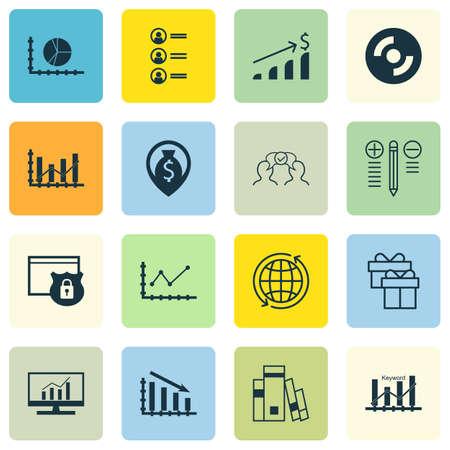Set di 16 icone modificabili universali per statistiche, scuola e argomenti di risorse umane. Include icone come cerchio grafico, processo decisionale, candidati di lavoro e altro ancora.