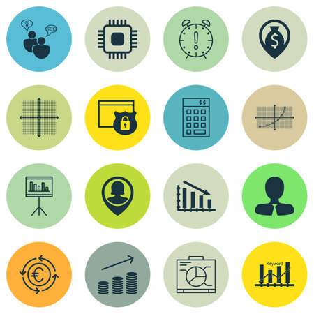 investment security: Set Of 16 Universal Editable Icons For Management, Hr And Statistics Topics. Includes Icons Such As Investment, Security, Board And More. Illustration