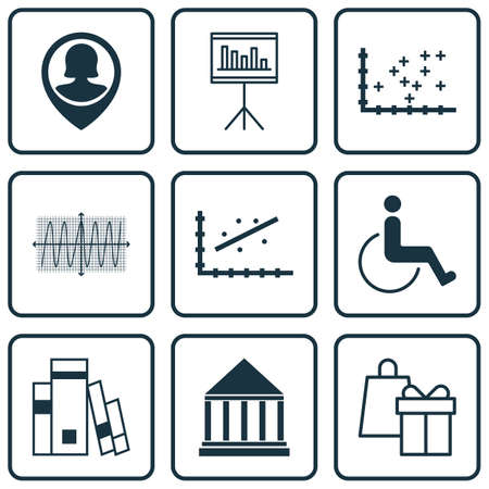 infirm: Set Of 9 Universal Editable Icons For Education, Hr And Statistics Topics. Includes Icons Such As Presentation, Accessibility, Education Center And More. Illustration