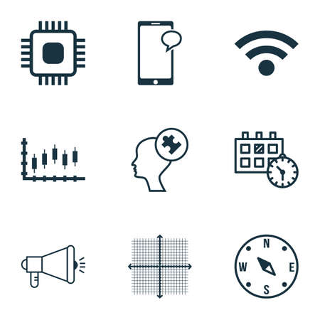 locate: Set Of 9 Universal Editable Icons For SEO, Statistics And Airport Topics. Includes Icons Such As Messaging, Wireless, Locate And More. Illustration