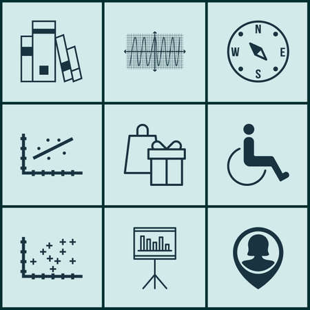 accessibility: Set Of 9 Universal Editable Icons For Management, School And Travel Topics. Includes Icons Such As Cosinus Diagram, Analytics, Accessibility And More.