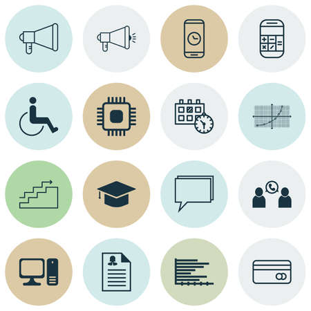 line up: Set Of 16 Universal Editable Icons For Travel, Management And Transportation Topics. Includes Icons Such As Media Campaign, Line Up, Desktop Computer And More.