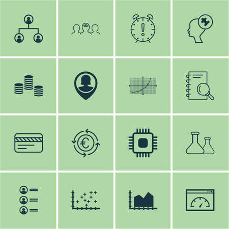 euro area: Set Of 16 Universal Editable Icons For Project Management, Tourism And Statistics Topics. Includes Icons Such As Time Management, Job Applicants, Chip And More.