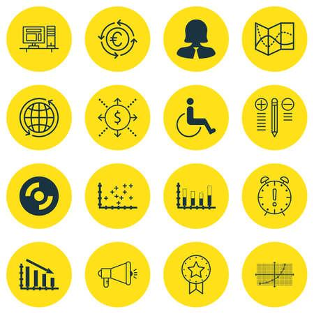 Set di 16 icone universali modificabili per i viaggi, trasporti e argomenti Hardware per computer. Include le icone come l'accessibilità, Fail Grafico, CD vuoto e di più.