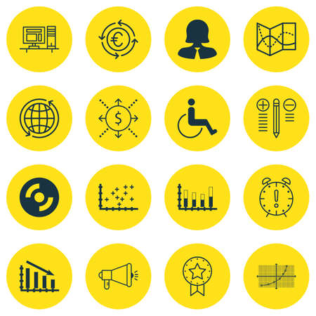 Set Of 16 Universal Editable Icons For Traveling, Transportation And Computer Hardware Topics. Includes Icons Such As Accessibility, Fail Graph, Blank Cd And More. Illustration