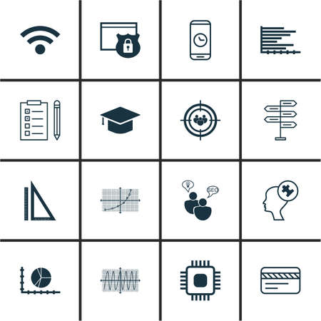 Set Of 16 Universal Editable Icons For Statistics, Computer Hardware And School Topics. Includes Icons Such As Chip, Measurement, Graduation And More.
