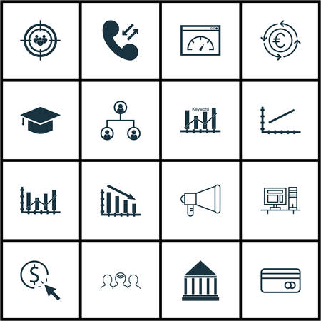 line up: Set Of 16 Universal Editable Icons For Advertising, Human Resources And Transportation Topics. Includes Icons Such As Education Center, Tree Structure, Line Up And More. Illustration