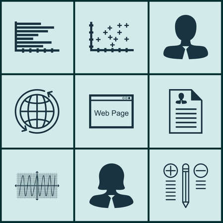cosinus: Set Of 9 Universal Editable Icons For Management, Project Management And Advertising Topics. Includes Icons Such As Manager, Curriculum Vitae, Cosinus Diagram And More.