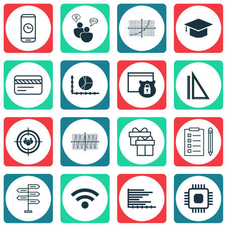 Set Of 16 Universal Editable Icons For School, Advertising And Traveling Topics. Includes Icons Such As Graduation, Call Duration, Chip And More.