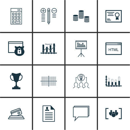 electronic survey: Set Of 16 Universal Editable Icons For Statistics, Hr And SEO Topics. Includes Icons Such As Segmented Bar Graph, Coding, Decision Making And More.