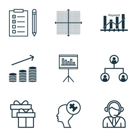 graphical chart: Set Of 9 Universal Editable Icons For SEO, Project Management And Hr Topics. Includes Icons Such As Operator, Present, Graphical Grid And More.