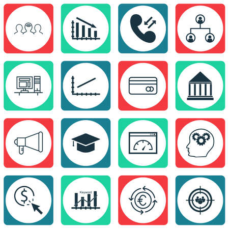 transact: Set Of 16 Universal Editable Icons For Business Management, SEO And Tourism Topics. Includes Icons Such As Brain Process, Plastic Card, Announcement And More.