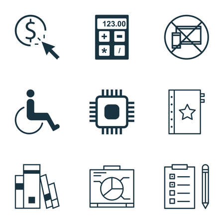 infirm: Set Of 9 Universal Editable Icons For Transportation, SEO And Project Management Topics. Includes Icons Such As Library, Forbidden Mobile, Board And More.