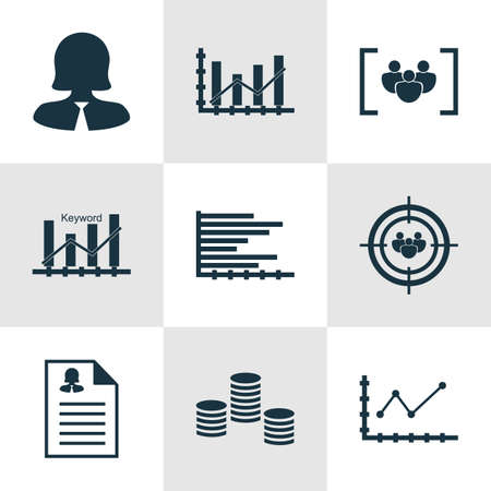 raise: Set Of 9 Universal Editable Icons For SEO, Advertising And Hr Topics. Includes Icons Such As Bars Chart, Questionnaire, Raise Diagram And More.