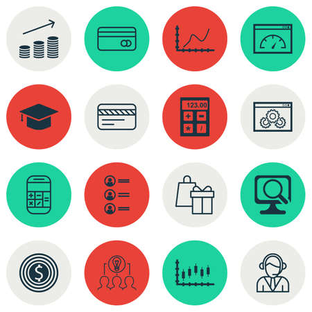 pay raise: Set Of 16 Universal Editable Icons For Management, School And Travel Topics. Includes Icons Such As Laptop, Graduation, Business Goal And More.