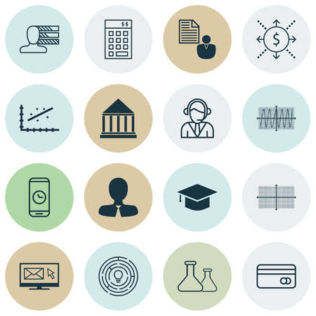 Set Of 16 Universal Editable Icons For Project Management, Marketing And Airport Topics. Includes Icons Such As Education Center, Innovation, Cosinus Diagram And More.
