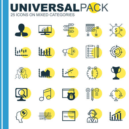 line up: Set Of 25 Universal Editable Icons. Can Be Used For Web, Mobile And App Design. Includes Icons Such As Reminder, Collaborative Solution, Line Up And More. Illustration