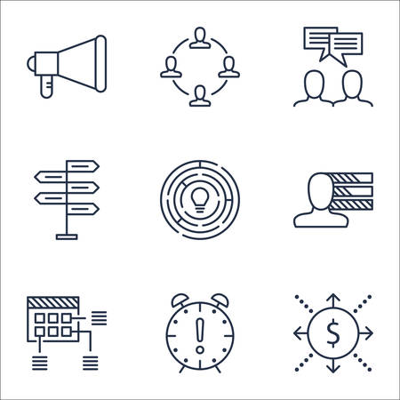personality development: Set Of Project Management Icons On Opportunity, Money And Collaboration Topics. Editable Vector Illustration. Includes Personal, Skills And Brainstorming Vector Icons. Illustration