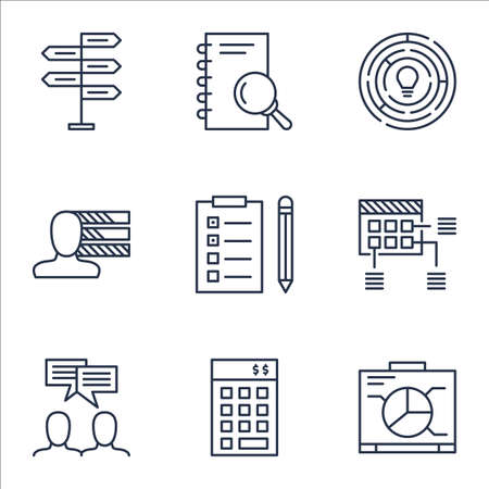 project charter: Set Of Project Management Icons On Investment, Schedule And Reminder Topics. Editable Vector Illustration. Includes Skills, Schedule And Brainstorming Vector Icons.