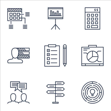 project charter: Set Of Project Management Icons On Opportunity, Innovation And Schedule Topics. Editable Vector Illustration. Includes Chart, Reminder And Discussion Vector Icons. Illustration