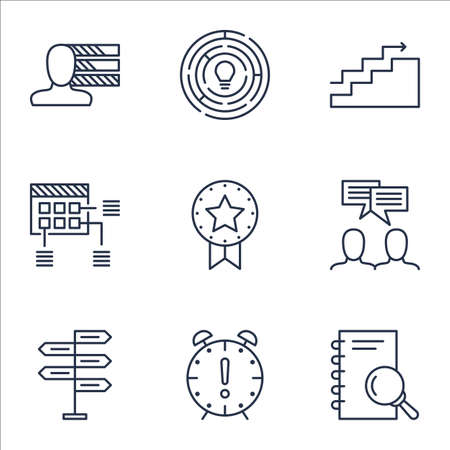 personality development: Set Of Project Management Icons On Opportunity, Analysis And Growth Topics. Editable Vector Illustration. Includes Schedule, Decision And Brainstorming Vector Icons.