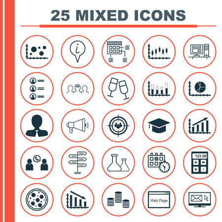 Set Of 25 Universal Editable Icons. Can Be Used For Web, Mobile And App Design. Includes Icons Such As Segmented Bar Graph, Coaching, Profit Graph And More.