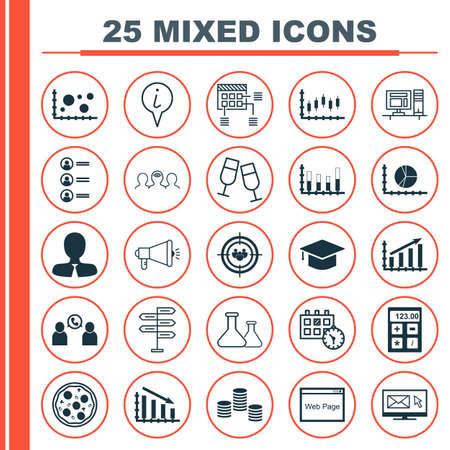 Ensemble de 25 icônes modifiables universelles. Peut être utilisé pour la conception Web, Mobile et App. Comprend des icônes telles que le graphique à barres segmenté, le coaching, le graphique des profits, etc.