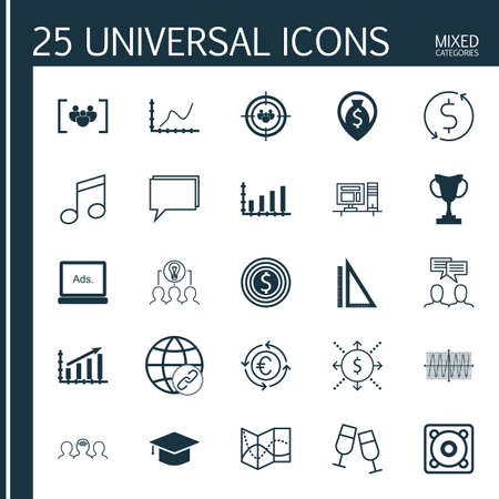 Set Of 25 Universal Editable Icons. Can Be Used For Web, Mobile And App Design. Includes Icons Such As Cosinus Diagram, Graduation, Currency Recycle And More. Illustration