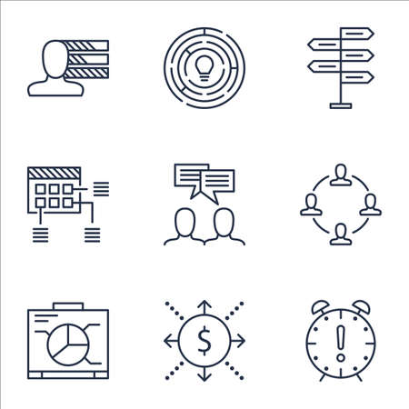 project charter: Set Of Project Management Icons On Collaboration, Time Management And Discussion Topics. Editable Vector Illustration. Includes Personal, Time And Chart Vector Icons.