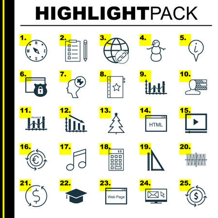 Set Of 25 Universal Editable Icons. Can Be Used For Web, Mobile And App Design. Includes Icons Such As Fail Graph, Personal Skills, Video Player And More.