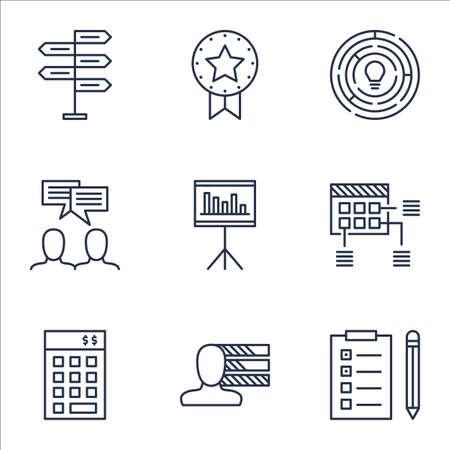 ability to speak: Set Of Project Management Icons On Innovation, Opportunity And Personal Skills Topics. Editable Vector Illustration. Includes List, Meeting And Brainstorm Vector Icons.