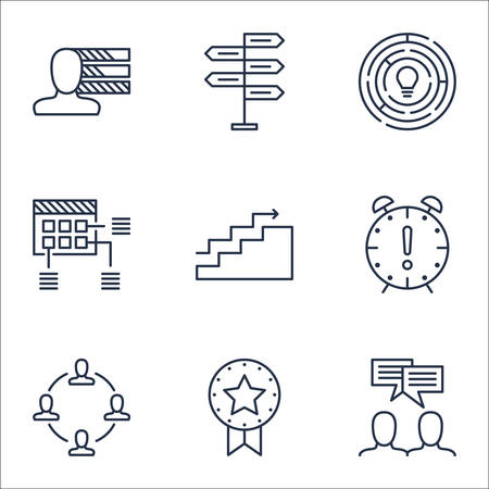 project charter: Set Of Project Management Icons On Schedule, Growth And Discussion Topics. Editable Vector Illustration. Includes Decision, Time And Skills Vector Icons.