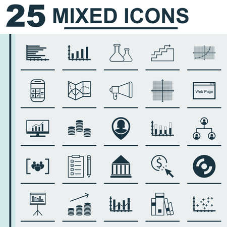segmented: Set Of 25 Universal Editable Icons. Can Be Used For Web, Mobile And App Design. Includes Icons Such As Segmented Bar Graph, Money, Growth And More. Illustration