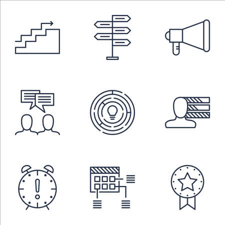 project charter: Set Of Project Management Icons On Time Management, Schedule And Personal Skills Topics. Editable Vector Illustration. Includes Meeting, Goal And Win Vector Icons.