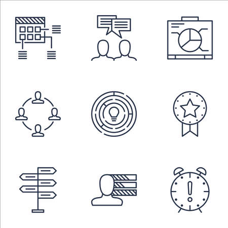 personality development: Set Of Project Management Icons On Collaboration, Schedule And Discussion Topics. Editable Vector Illustration. Includes Presentation, Deadline And Brainstorming Vector Icons.