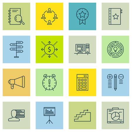 project charter: Set Of Project Management Icons On Opportunity, Present Badge And Decision Making Topics. Editable Vector Illustration. Includes Workspace, Computer And Growth Vector Icons. Illustration