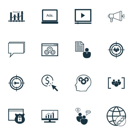keyword research: Set Of SEO Icons On Security, Market Research And Focus Group Topics. Editable Vector Illustration. Includes Consulting, Target And Keyword Vector Icons. Illustration