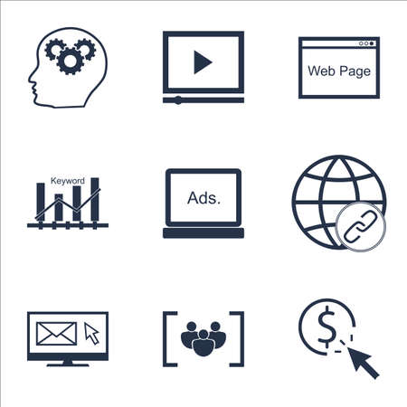 Set Of Advertising Icons On Questionnaire, Website And Brain Process Topics. Editable Vector Illustration. Includes Bulding, Ranking And Keyword Vector Icons. Illustration