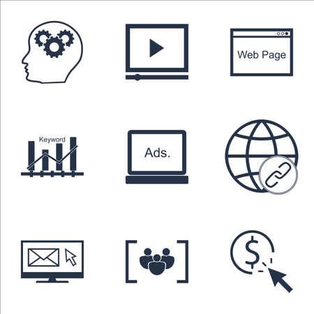 Ensemble d'icônes publicitaires sur le questionnaire, site Web et sujets de processus de cerveau. Illustration vectorielle modifiable Inclut les icônes vectorielles Bulding, Ranking et Keyword.
