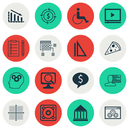 accessibility: Set Of 16 Universal Editable Icons. Can Be Used For Web, Mobile And App Design. Includes Icons Such As Graphical Grid, Accessibility, Business Deal And More. Illustration